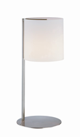 Table Lamp, Polished Steel W/frost Glass Shade, E27 A 60w
