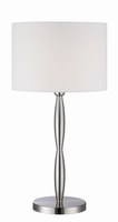 Table Lamp, Polished Steel/white Fabric Shade, E27 Cfl 23w