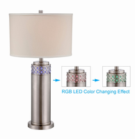Table Lamp, Polished Steel/white Fabric Shade, E27 Cfl 23w & Led 0.06x12
