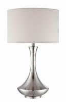Table Lamp, Polished Steel/white Fabric Shade, E27 Type A 150w