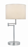 Table Lamp, Polished Steel/white Fabric Shade, E27 Type A 60w