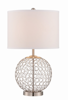 Table Lamp, Polished Steel/white Fabric Shade, E27 Type Cfl 23w