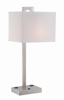 Table Lamp, Polished Steel/white Fabric Shade, Outlet X2pcs, E27 Cfl 23w