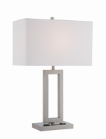 Table Lamp, Polished Steel/white Fabric Shade, Outletx2pcs, E27 A 100