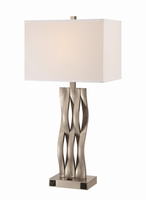 Table Lamp, Polished Steel/white, On/off Rocker&outletx2pcs,e27 A 150w