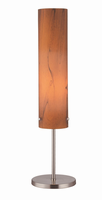 Table Lamp, Polished Steel/ Wood Grain Textured Glass Shade, E27 Cfl 13w
