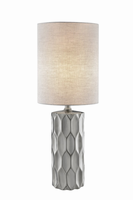 Table Lamp, Silver Ceramic Body/fabric Shade, E27 Type A 60w