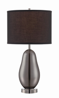 Table Lamp, Smoked Chrome Glass/black Fabric, E27 Cfl 23w