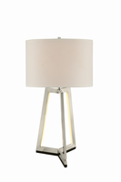 Table Lamp W/led Night, Bn/white Linen Shade,a 150w&led 6.3w