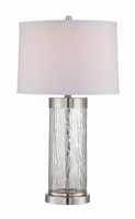 Table Lamp W/led Night, Polished Steel/clear/fabric, E27 Cfl 23w/led 2w