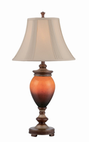 Table Lamp W/night - Aged Gold/fabric Shd, Cfl 23w&led 0.5w