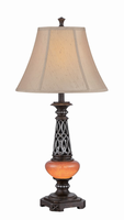 Table Lamp W/night Lite - D.brz/fabric, E27 Cfl 23w&led 0.5w