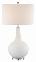 Table Lamp, White Glass/white Fabric Shade, E27 A 100w