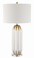 Table Lamp, White Gold/fabric Shade, E27 Type A 150w