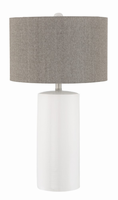 Table Lamp, White/grey Linen Shade, E27 Type A 150w