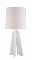 Table Lamp, White/linen Fabric Shade, E27 Cfl 23w