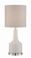 Table Lamp, White/linen Fabric Shade, E27 Type Cfl 23w