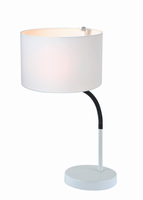 Table Lamp, White/white Fabric Shade, E27 Cfl 13w