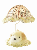 Table Lamp - Yellow Dog/striped Fabric Shade, E27 Type B 40w