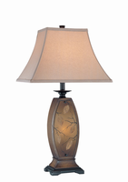 Table/nite Lamp - Ant.gold Body/fabric, E27 A 150 & C 7w