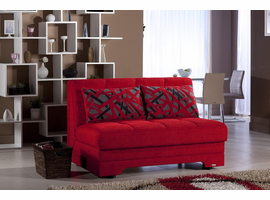TWIST RED LOVESEAT SLEEPER CONVERTS TO A DOUBLE BED