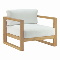 Upland Outdoor Patio Teak Armchair, Natural White [FREE SHIPPING]