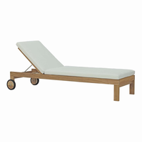 Upland Outdoor Patio Teak Chaise, Natural White [FREE SHIPPING]