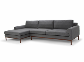 URBIA Furniture Metro Carter Chaise Sectional, LAF Dark Gray