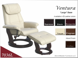 Ventura Leather Swivel Recliner  & Ottoman Taupe Only