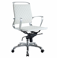 Vibe Mid Back Leather Office Chair, White [FREE SHIPPING]
