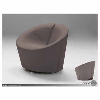 Vixen Swivel Chair Grey Leatherette