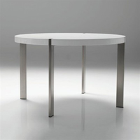 Voom Round Dining Table With Brushed Stainless Steel Legs