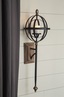 Ashley Express Furniture - Dina - A8010118 - Wall Sconce, Black/Gold Finish