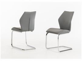 Welles - Modern Grey Leatherette Dining Chair (Set of 2)