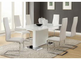 White Dining Table With Chrome Base & White Or Black Chairs