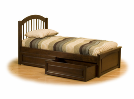 Windsor Raised Panel Footboard Platform Bed with Storage Drawers