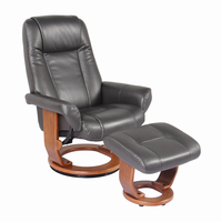 Windsor Ultra Synthetic, Charcoal, Swivel Recliner Chair & Ottoman