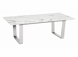 Zuo Modern Atlas Coffee Table Stone & Brushed Ss