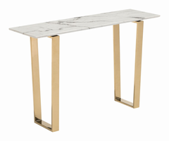 Zuo Modern Atlas Console Table Stone & Gold