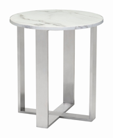 Zuo Modern Atlas End Table Stone & Stainless Steel