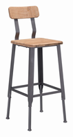 Zuo Modern Clay Bar Chair Natural Pine & Industrial Gray