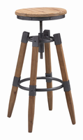 Zuo Modern Curry Barstool Natural Pine & Industrial Gray