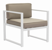 Zuo Modern Golden Beach Arm Chair White & Taupe, Set of 2