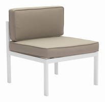 Zuo Modern Golden Beach Middle Chair White & Taupe, Set of 2
