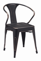 Zuo Modern Helix Dining Chair Anti-black Gold, Set of 2