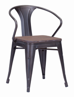 Zuo Modern Helix Dining Chair Rusty+elm Wood Top, Set of 2