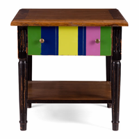Zuo Modern Holloway Side Table Natural Top, Distressed Black & Multicolor Frame