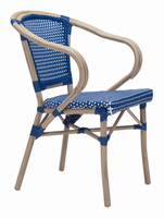 Zuo Modern Paris Dining Arm Chair Navy Blue&white, Set of 2