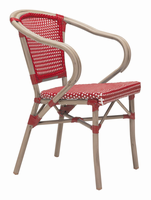 Zuo Modern Paris Dining Arm Chair Red&white, Set of 2
