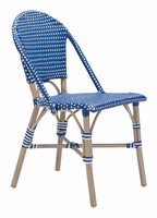 Zuo Modern Paris Dining Chair Navy Blue&white, Set of 2